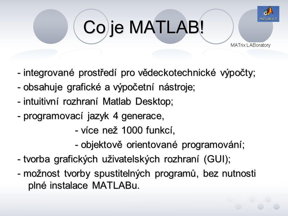 Oblasti využití systému MATLAB - tradiční - letectví, kosmonautika; - automobilový průmysl; - automatizace a strojnictví; - komunikace, elektronika, polovodiče; - nově vznikající - finance, ekonomika; - energetika;- přírodní vědy.