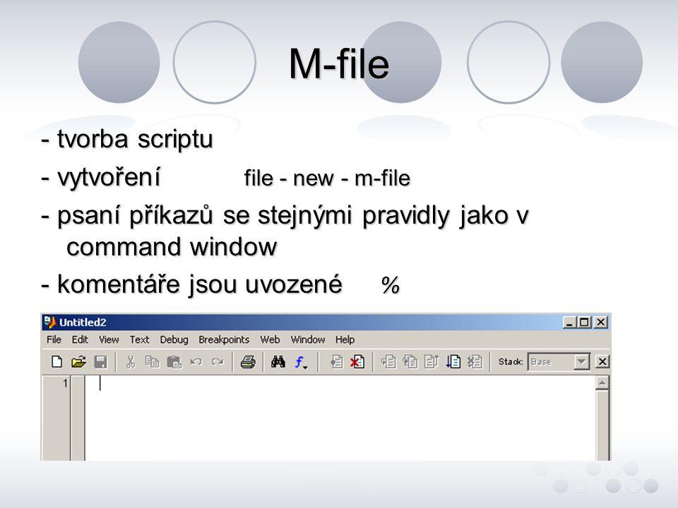 M-file - tvorba scriptu - vytvoření file - new - m-file - psaní příkazů se stejnými pravidly jako v command window - komentáře jsou uvozené %