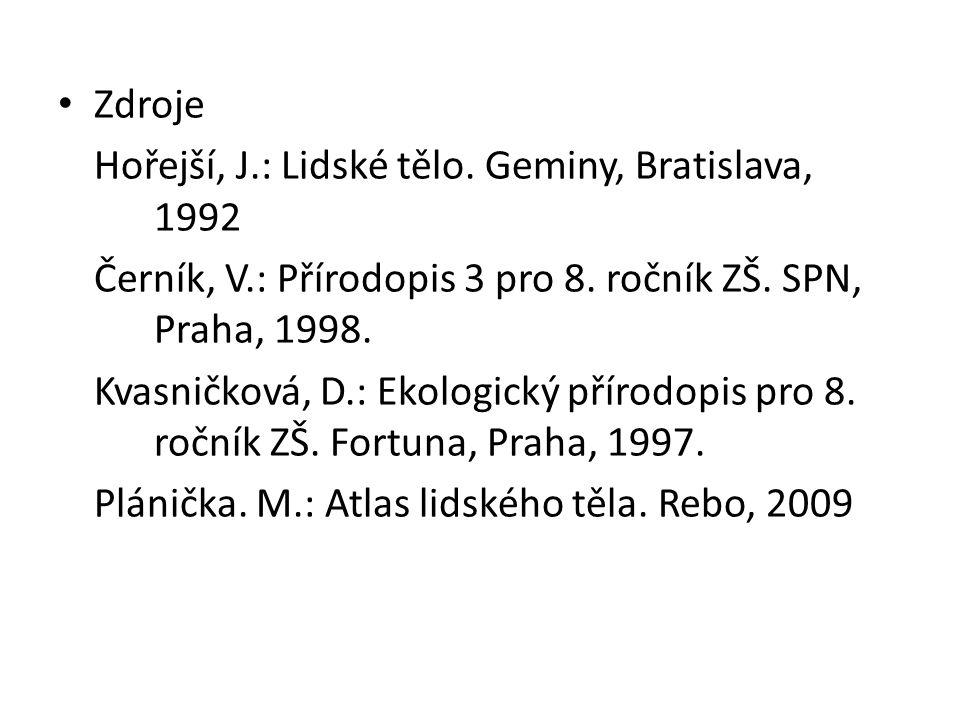 • Zdroje Hořejší, J.: Lidské tělo. Geminy, Bratislava, 1992 Černík, V.: Přírodopis 3 pro 8. ročník ZŠ. SPN, Praha, 1998. Kvasničková, D.: Ekologický p