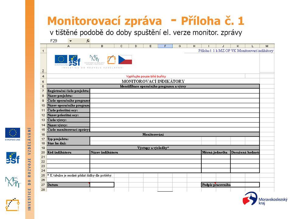INVESTICE DO ROZVOJE VZDĚLÁVÁNÍ Monitorovací zpráva - Příloha č. 1 v tištěné podobě do doby spuštění el. verze monitor. zprávy