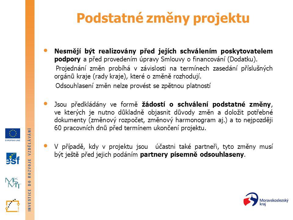 INVESTICE DO ROZVOJE VZDĚLÁVÁNÍ Podstatné změny projektu • Nesmějí být realizovány před jejích schválením poskytovatelem podpory a před provedením úpr