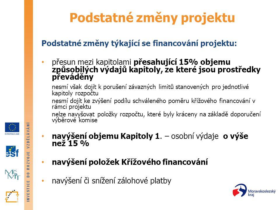INVESTICE DO ROZVOJE VZDĚLÁVÁNÍ Podstatné změny projektu Podstatné změny týkající se financování projektu: • přesun mezi kapitolami přesahující 15% ob