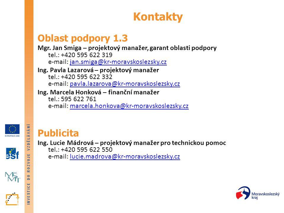INVESTICE DO ROZVOJE VZDĚLÁVÁNÍ Kontakty Oblast podpory 1.3 Mgr. Jan Smiga – projektový manažer, garant oblasti podpory tel.: +420 595 622 319 e-mail: