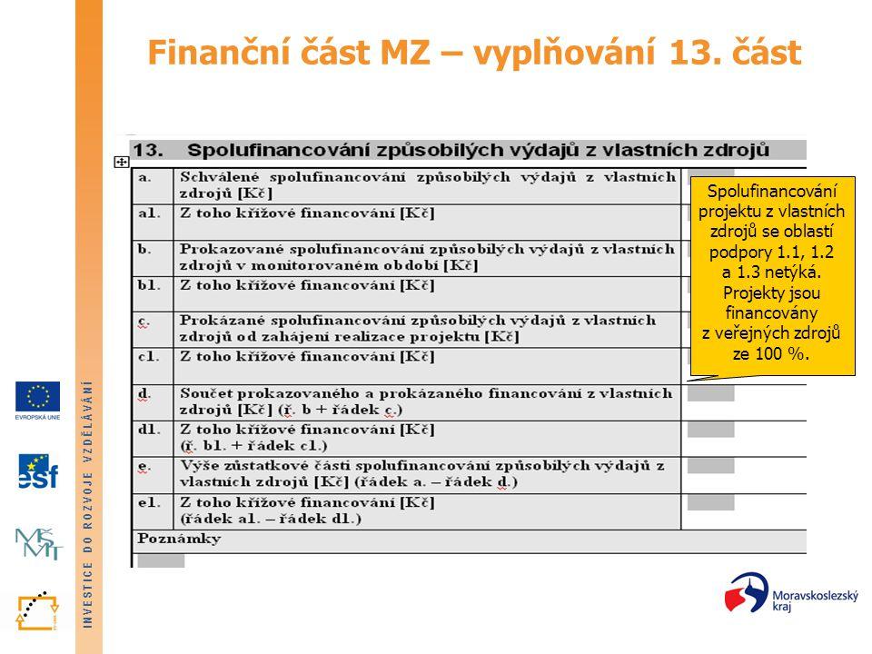 INVESTICE DO ROZVOJE VZDĚLÁVÁNÍ Finanční část MZ – vyplňování 13. část Spolufinancování projektu z vlastních zdrojů se oblastí podpory 1.1, 1.2 a 1.3