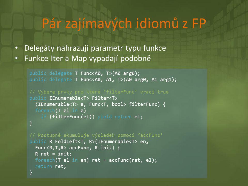 Pár zajímavých idiomů z FP • Delegáty nahrazují parametr typu funkce • Funkce Iter a Map vypadají podobně public delegate T Func (A0 arg0); public del