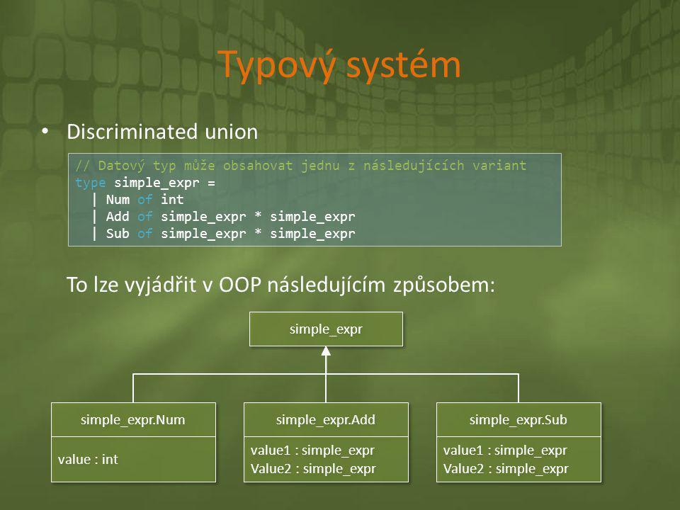 Typový systém • Discriminated union To lze vyjádřit v OOP následujícím způsobem: // Datový typ může obsahovat jednu z následujících variant type simpl