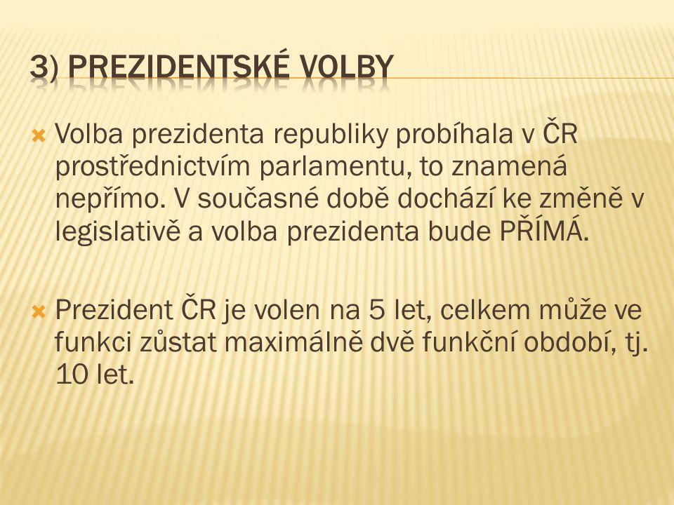  Volba prezidenta republiky probíhala v ČR prostřednictvím parlamentu, to znamená nepřímo. V současné době dochází ke změně v legislativě a volba pre