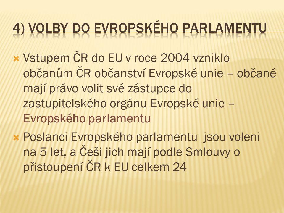  Vstupem ČR do EU v roce 2004 vzniklo občanům ČR občanství Evropské unie – občané mají právo volit své zástupce do zastupitelského orgánu Evropské unie – Evropského parlamentu  Poslanci Evropského parlamentu jsou voleni na 5 let, a Češi jich mají podle Smlouvy o přistoupení ČR k EU celkem 24