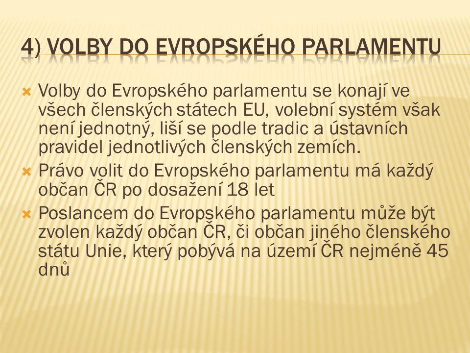  Volby do Evropského parlamentu se konají ve všech členských státech EU, volební systém však není jednotný, liší se podle tradic a ústavních pravidel jednotlivých členských zemích.