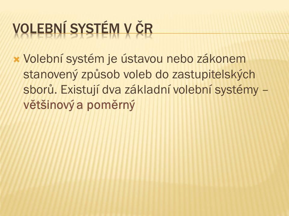  Volební systém je ústavou nebo zákonem stanovený způsob voleb do zastupitelských sborů. Existují dva základní volební systémy – většinový a poměrný