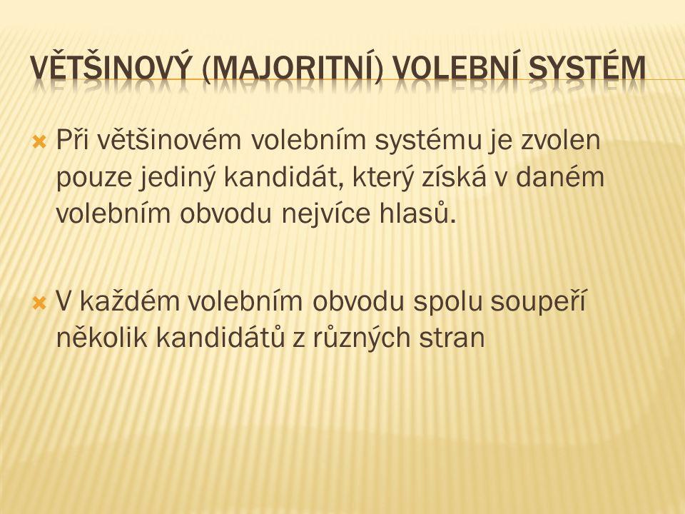  Při většinovém volebním systému je zvolen pouze jediný kandidát, který získá v daném volebním obvodu nejvíce hlasů.  V každém volebním obvodu spolu