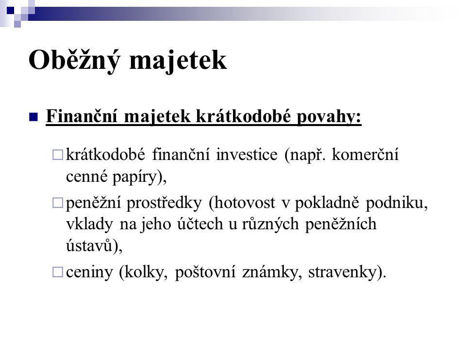 Oběžný majetek  Finanční majetek krátkodobé povahy:  krátkodobé finanční investice (např. komerční cenné papíry),  peněžní prostředky (hotovost v p