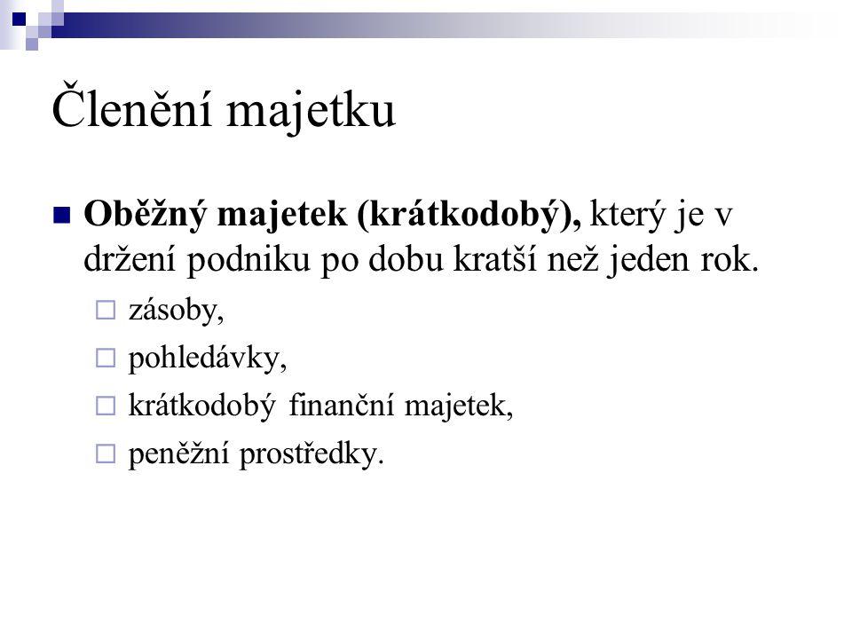 Cizí zdroje  Cizí kapitál zahrnuje:  závazky (dluhy) podniku  rezervy