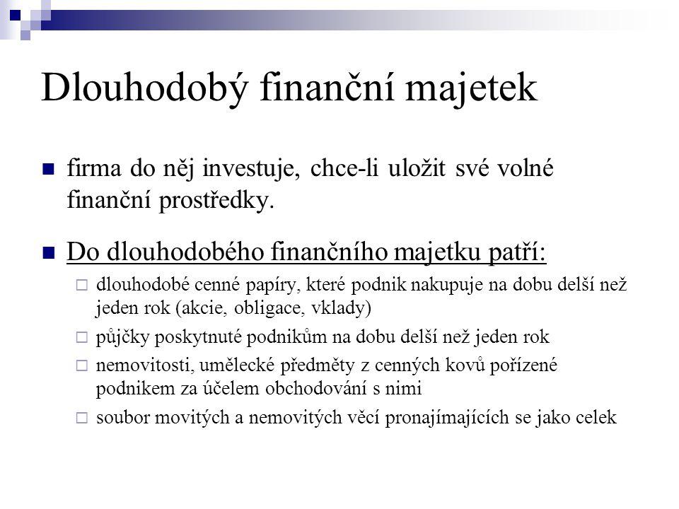 Dlouhodobý finanční majetek  firma do něj investuje, chce-li uložit své volné finanční prostředky.  Do dlouhodobého finančního majetku patří:  dlou