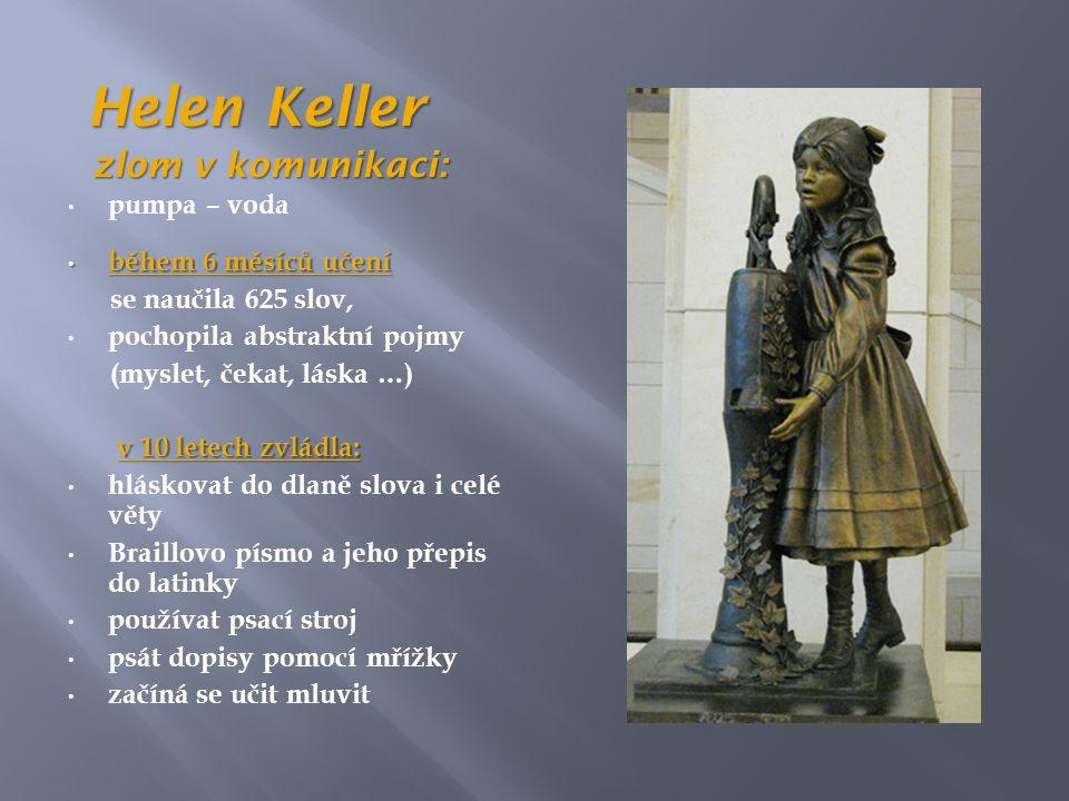 Helen Keller Helen Keller zlom v komunikaci: zlom v komunikaci: • pumpa – voda • během 6 měsíců učení se naučila 625 slov, • pochopila abstraktní pojmy (myslet, čekat, láska …) v 10 letech zvládla: • hláskovat do dlaně slova i celé věty • Braillovo písmo a jeho přepis do latinky • používat psací stroj • psát dopisy pomocí mřížky • začíná se učit mluvit