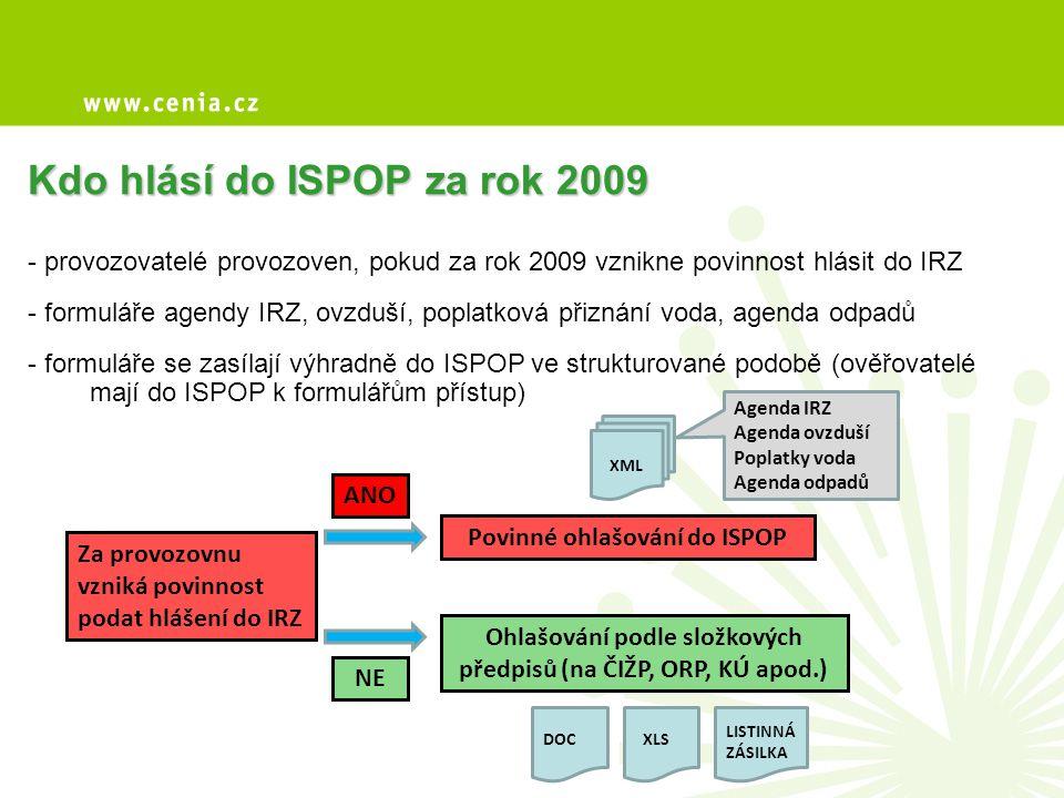 Kdo hlásí do ISPOP za rok 2009 - provozovatelé provozoven, pokud za rok 2009 vznikne povinnost hlásit do IRZ - formuláře agendy IRZ, ovzduší, poplatko