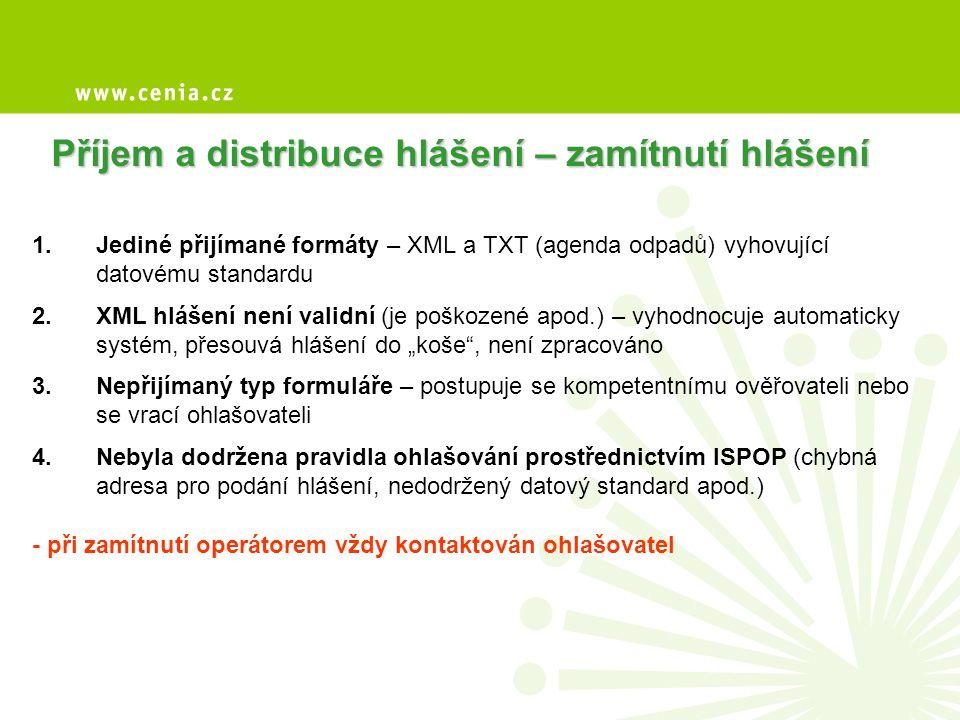 Příjem a distribuce hlášení – zamítnutí hlášení 1.Jediné přijímané formáty – XML a TXT (agenda odpadů) vyhovující datovému standardu 2.XML hlášení nen