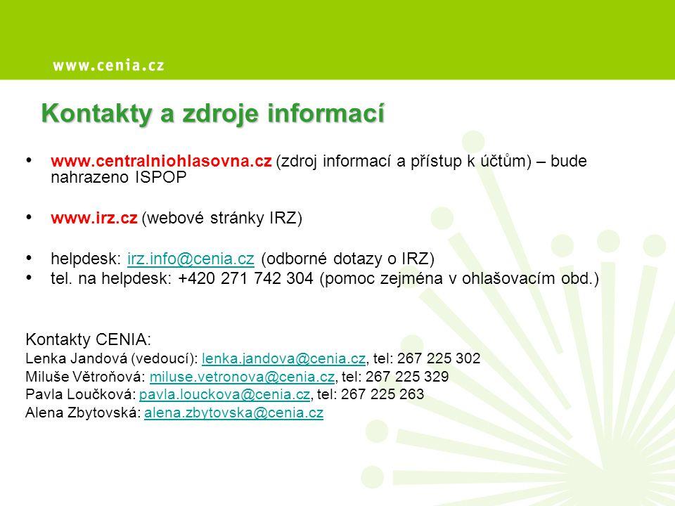 Kontakty a zdroje informací • www.centralniohlasovna.cz (zdroj informací a přístup k účtům) – bude nahrazeno ISPOP • www.irz.cz (webové stránky IRZ) •