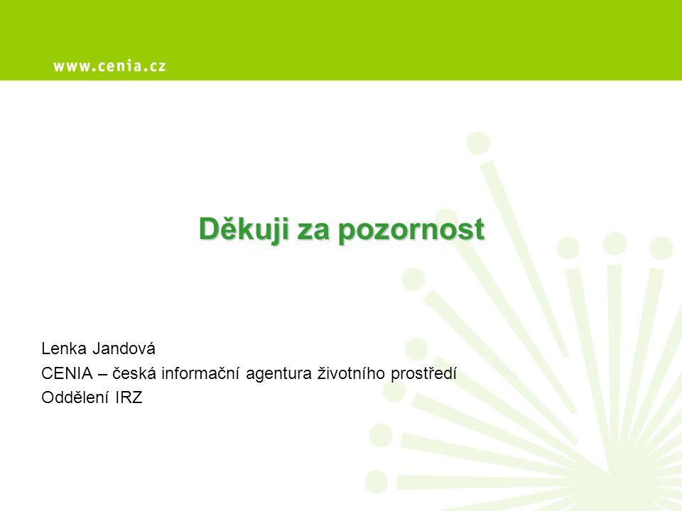 Děkuji za pozornost Lenka Jandová CENIA – česká informační agentura životního prostředí Oddělení IRZ