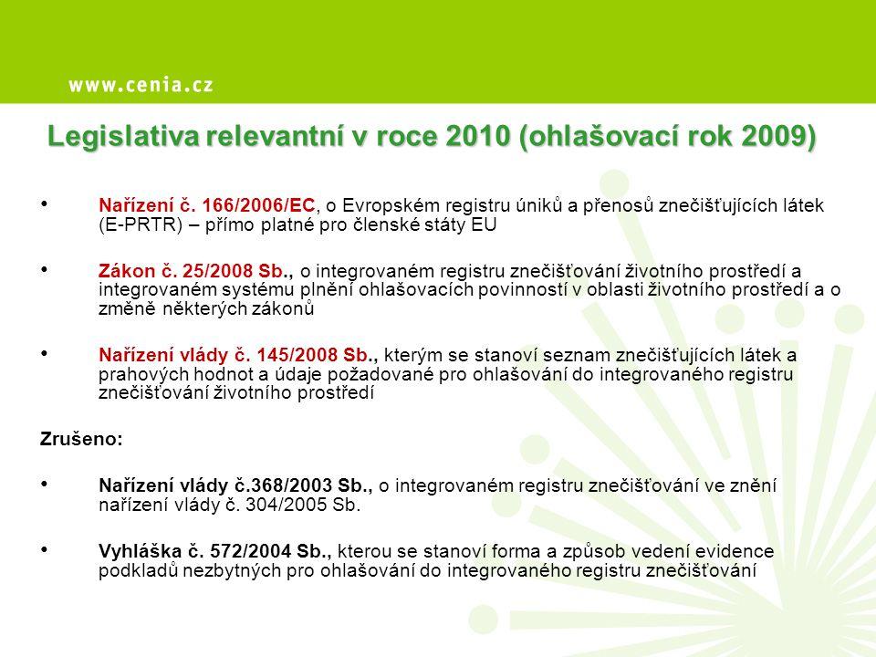 Legislativa relevantní v roce 2010 (ohlašovací rok 2009) • Nařízení č. 166/2006/EC, o Evropském registru úniků a přenosů znečišťujících látek (E-PRTR)
