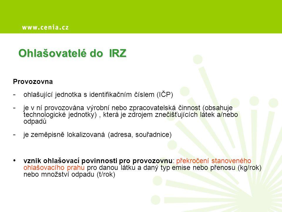 Ohlašovatelé do IRZ Provozovna - ohlašující jednotka s identifikačním číslem (IČP) - je v ní provozována výrobní nebo zpracovatelská činnost (obsahuje