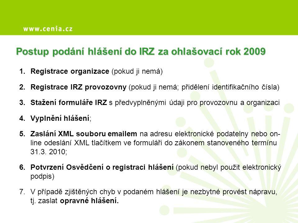 Kontrola ohlašovací povinnosti • Česká inspekce životního prostředí (ČIŽP) • CENIA (kontrola formální a obsahová) • sankce za nesplnění ohlašovací povinnosti a uvedení nesprávných údajů • hlášení lze podat i zpětně za předchozí ohlašovací roky (2007 a 2008)
