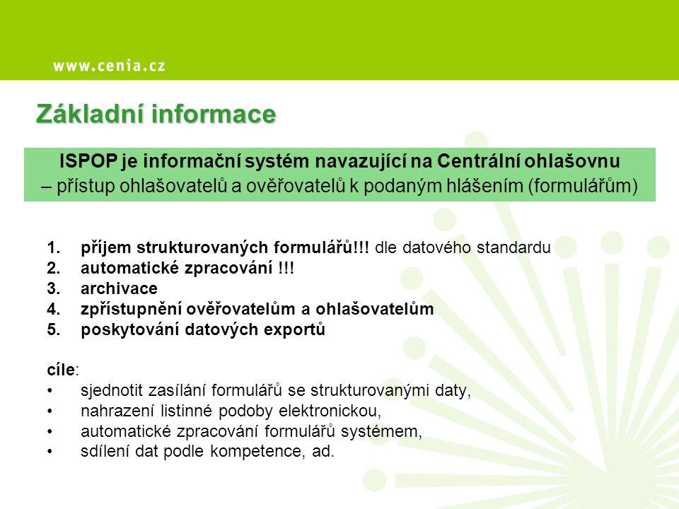 Kdo hlásí do ISPOP za rok 2009 - provozovatelé provozoven, pokud za rok 2009 vznikne povinnost hlásit do IRZ - formuláře agendy IRZ, ovzduší, poplatková přiznání voda, agenda odpadů - formuláře se zasílají výhradně do ISPOP ve strukturované podobě (ověřovatelé mají do ISPOP k formulářům přístup) Za provozovnu vzniká povinnost podat hlášení do IRZ ANO NE Povinné ohlašování do ISPOP Ohlašování podle složkových předpisů (na ČIŽP, ORP, KÚ apod.) XML DOCXLS LISTINNÁ ZÁSILKA Agenda IRZ Agenda ovzduší Poplatky voda Agenda odpadů