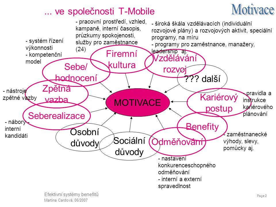 Page 2 Martina Cardová, 06/2007 Efektivní systémy benefitů... ve společnosti T-Mobile Sebe/ hodnocení Firemní kultura Vzdělávání rozvoj ??? další Odmě