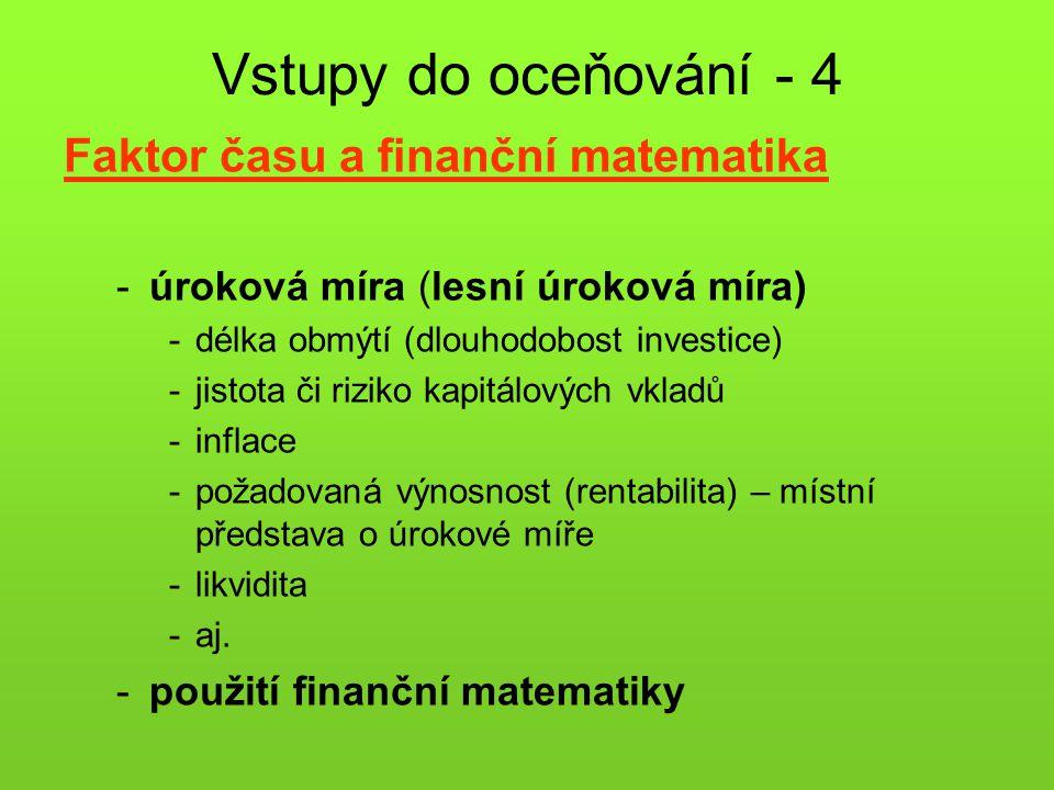 Vstupy do oceňování - 4 Faktor času a finanční matematika -úroková míra (lesní úroková míra) -délka obmýtí (dlouhodobost investice) -jistota či riziko