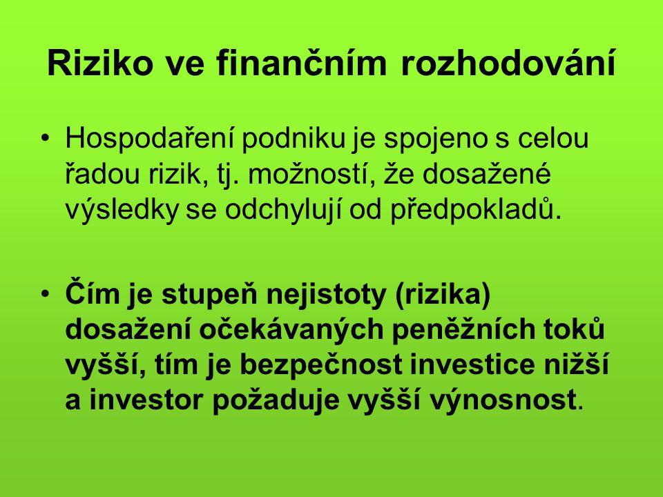 Riziko ve finančním rozhodování •Hospodaření podniku je spojeno s celou řadou rizik, tj. možností, že dosažené výsledky se odchylují od předpokladů. •