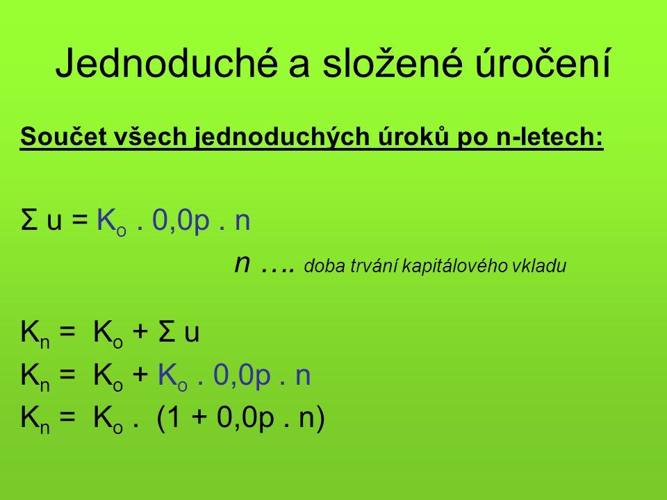 Jednoduché a složené úročení Součet všech jednoduchých úroků po n-letech: Σ u = K o. 0,0p. n n …. doba trvání kapitálového vkladu K n = K o + Σ u K n