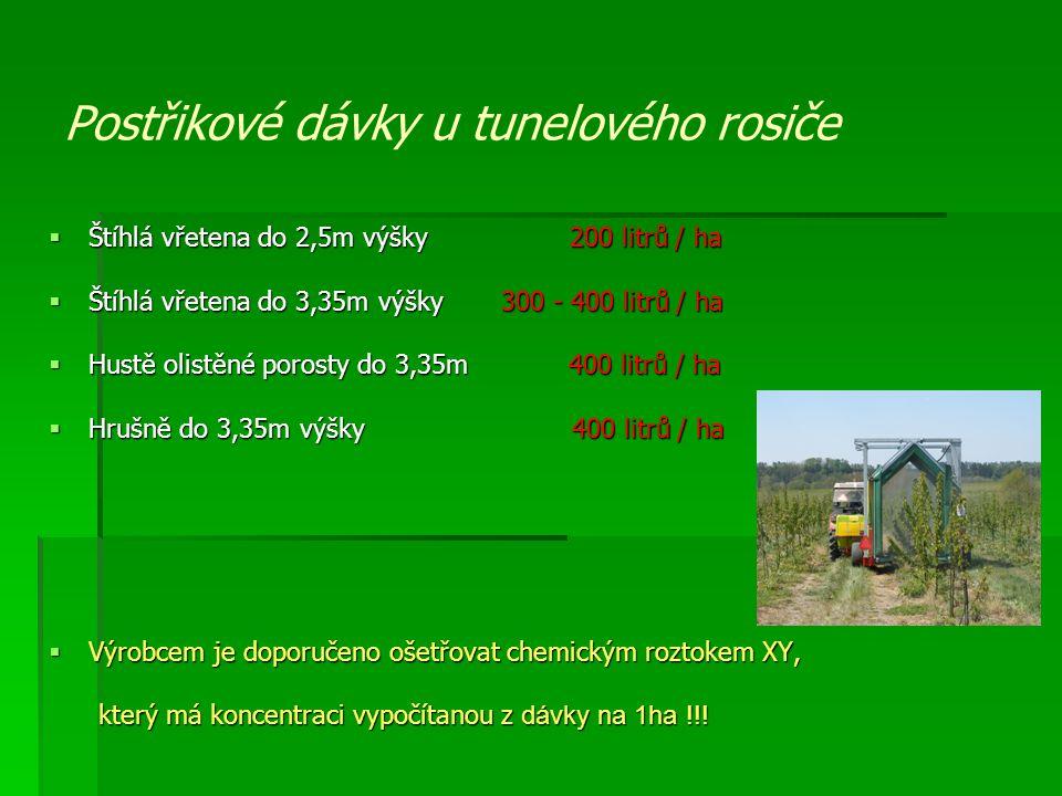 Postřikové dávky u tunelového rosiče  Štíhlá vřetena do 2,5m výšky 200 litrů / ha  Štíhlá vřetena do 3,35m výšky 300 - 400 litrů / ha  Hustě olistě