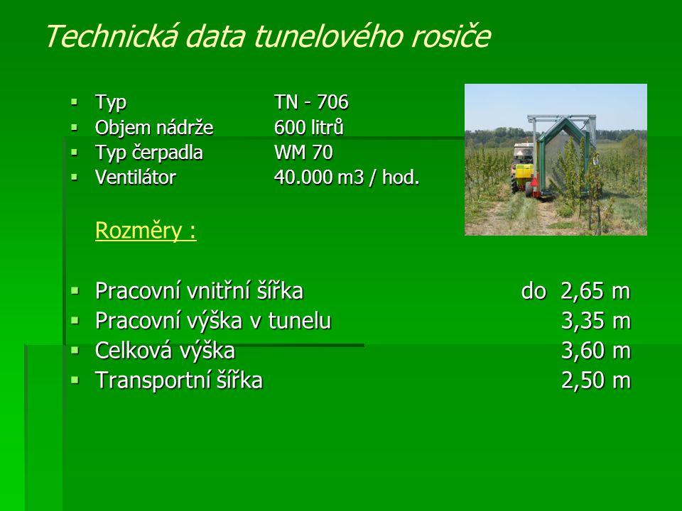 Technická data tunelového rosiče  Typ TN - 706  Objem nádrže600 litrů  Typ čerpadlaWM 70  Ventilátor40.000 m3 / hod. Rozměry :  Pracovní vnitřní