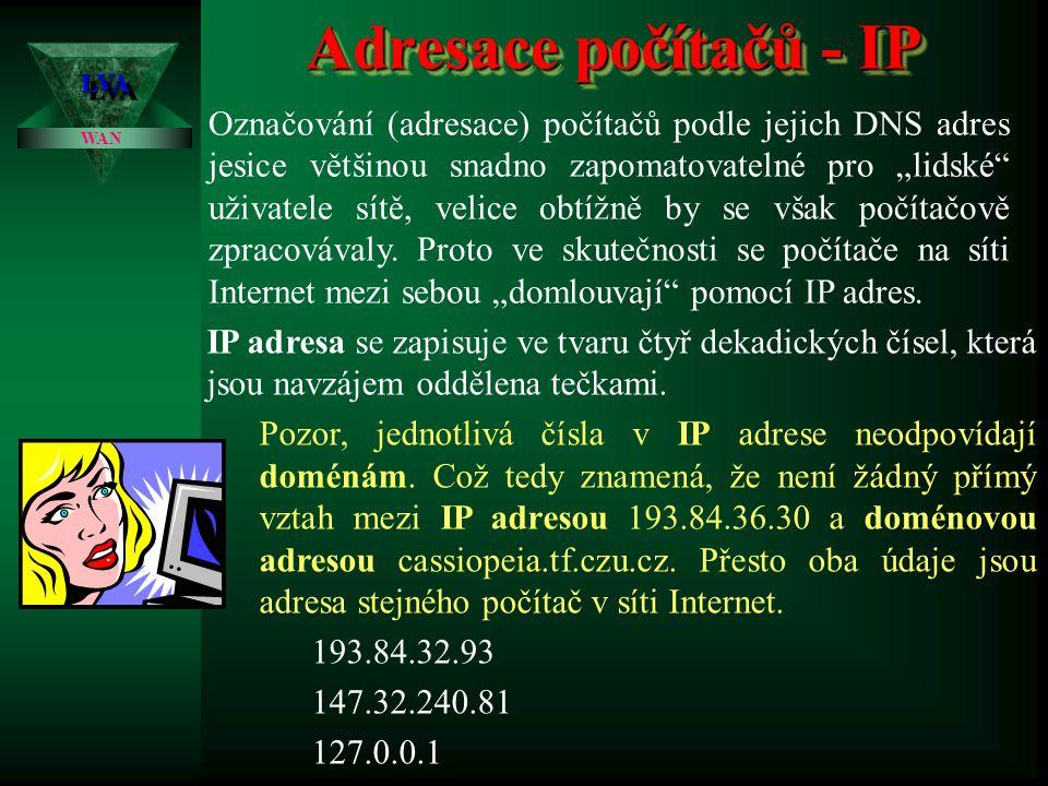 """Adresace počítačů - DNS LVALVA WAN Jak již bylo výše několikrát zdůrazněno, je protokol TC/IP velice nezávislý a """"samostatný protokol, přesto je však nutné na celé síti Internetu dodržet několik základních pravidel."""