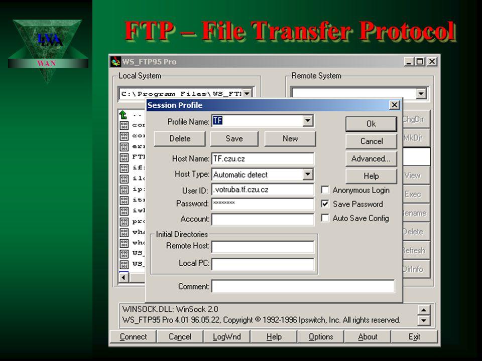 FTP – File Transfer Protocol LVALVA WAN Protokol Telnet sice umožňuje v podstatě libovolně ovládat vzdálený systém, jedno omezení však má.