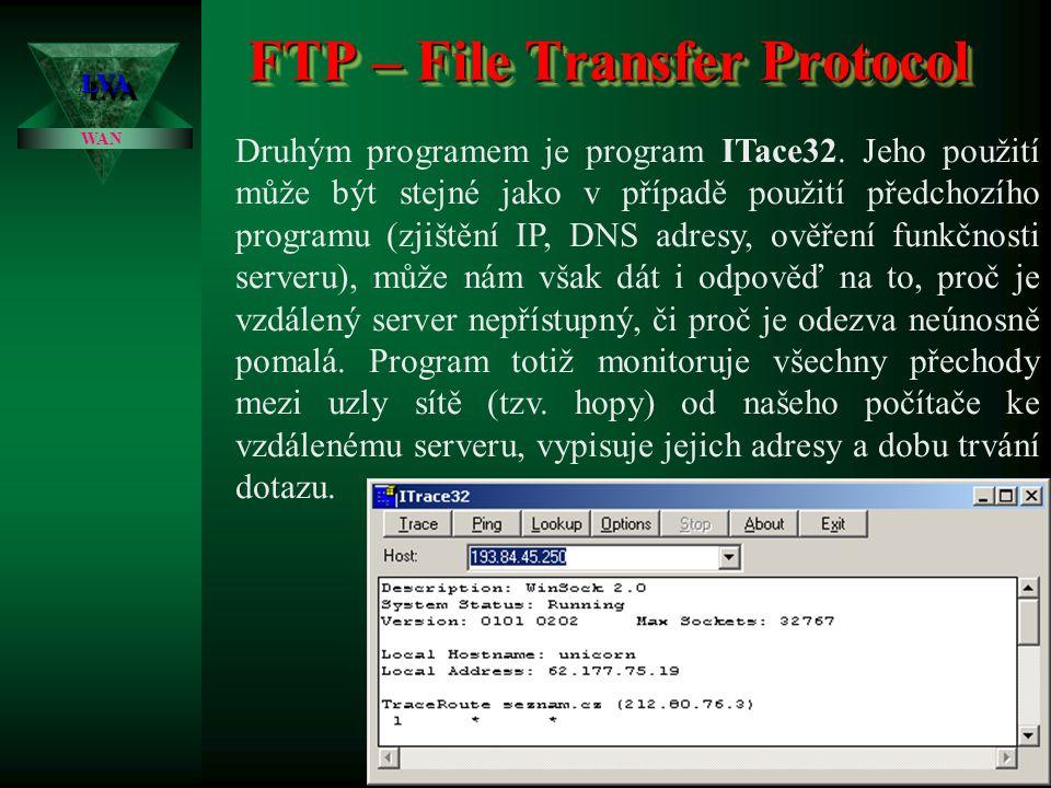 FTP – File Transfer Protocol LVALVA WAN Součástí programu WSFTP je i několik dalších poměrně užitečných utilitek.