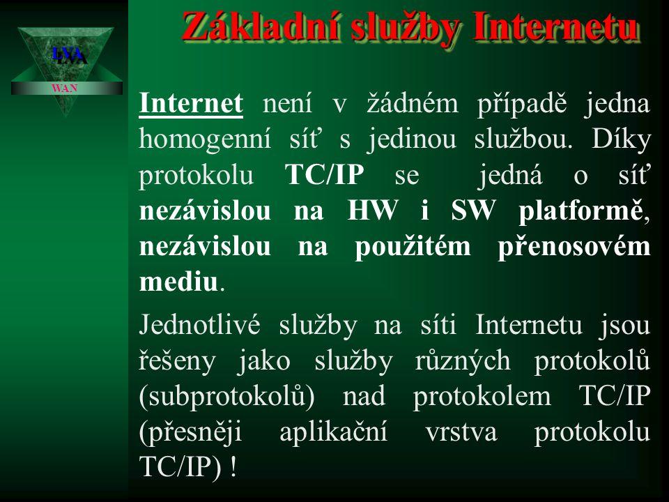 Princip topologie sítě Internet  Síť Internet je v podstatě složena ze sítí LAN a MAN, které jsou spojeny páteřním rozvodem.