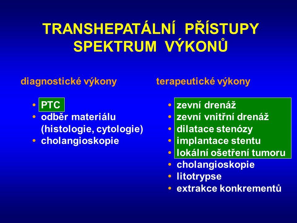 TRANSHEPATÁLNÍ PŘÍSTUPY SPEKTRUM VÝKONŮ diagnostické výkony •PTC •odběr materiálu (histologie, cytologie) •cholangioskopie terapeutické výkony •zevní