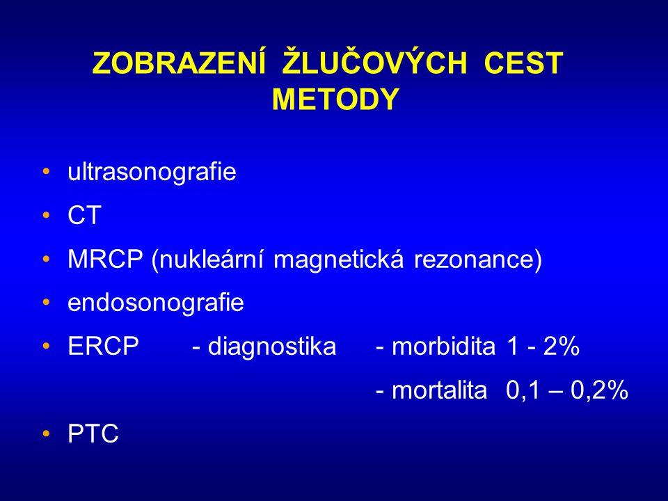 ZOBRAZENÍ ŽLUČOVÝCH CEST METODY •ultrasonografie •CT •MRCP (nukleární magnetická rezonance) •endosonografie •ERCP- diagnostika- morbidita 1 - 2% - mor