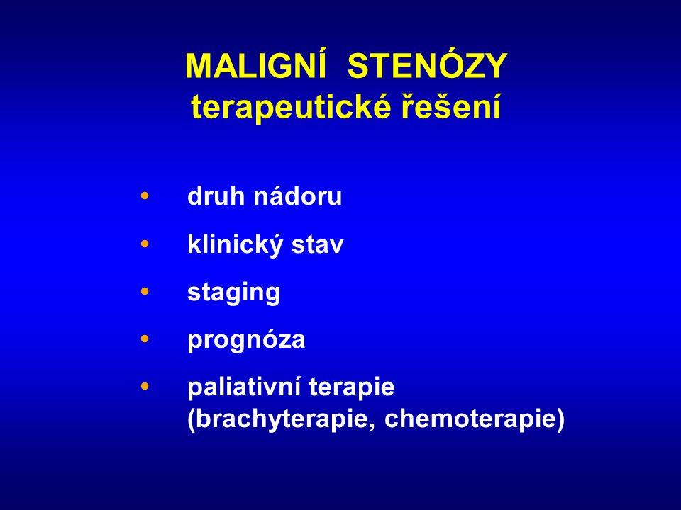 MALIGNÍ STENÓZY terapeutické řešení • druh nádoru • klinický stav • staging • prognóza • paliativní terapie (brachyterapie, chemoterapie)