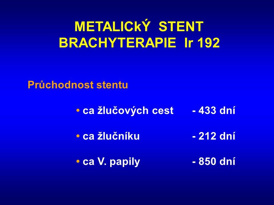 METALICkÝ STENT BRACHYTERAPIE Ir 192 Průchodnost stentu • ca žlučových cest - 433 dní • ca žlučníku- 212 dní • ca V. papily- 850 dní