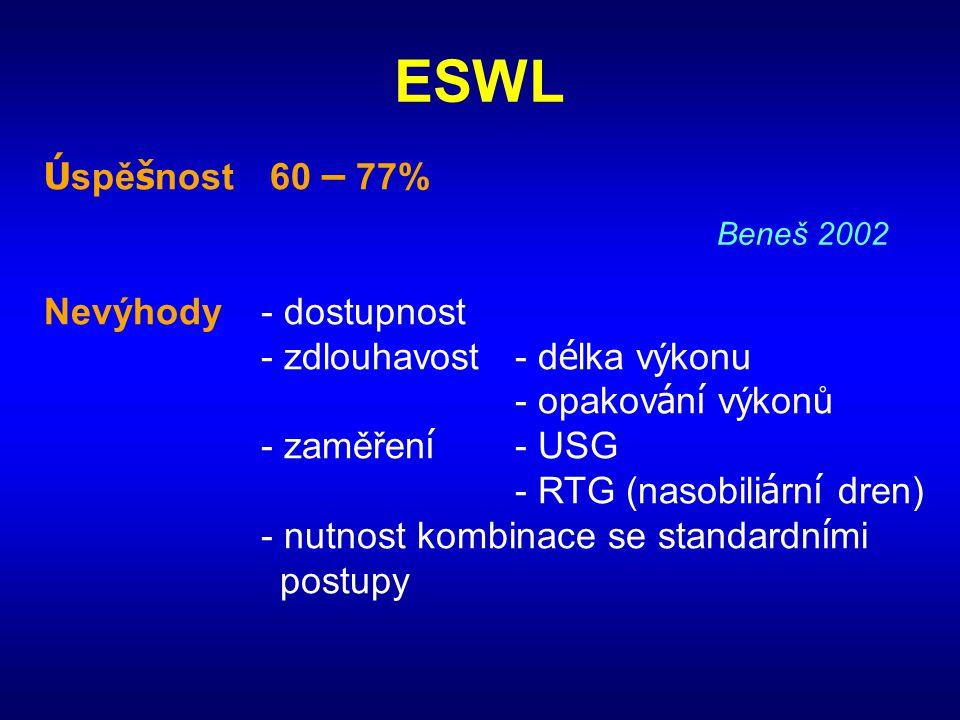 ESWL Ú spě š nost60 – 77% Nevýhody- dostupnost - zdlouhavost- d é lka výkonu - opakov á n í výkonů - zaměřen í - USG - RTG (nasobili á rn í dren) - nu