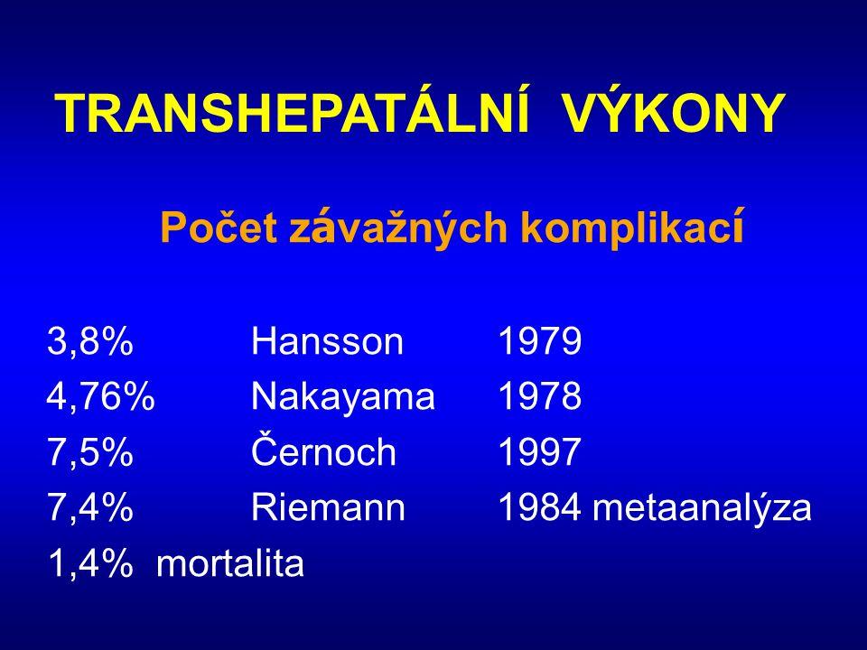 TRANSHEPATÁLNÍ VÝKONY Počet z á važných komplikac í 3,8%Hansson1979 4,76%Nakayama1978 7,5%Černoch1997 7,4%Riemann1984 metaanalýza 1,4% mortalita