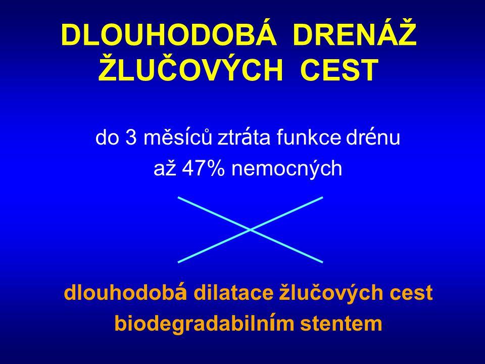 DLOUHODOBÁ DRENÁŽ ŽLUČOVÝCH CEST do 3 měs í ců ztr á ta funkce dr é nu až 47% nemocných dlouhodob á dilatace žlučových cest biodegradabiln í m stentem