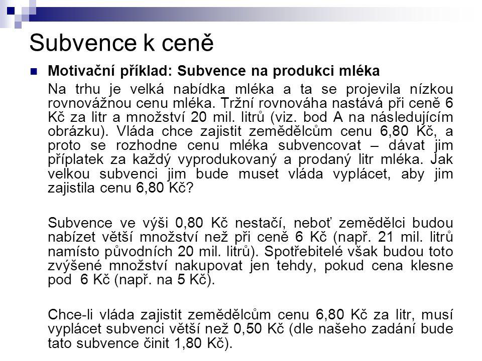 Subvence k ceně  Motivační příklad: Subvence na produkci mléka Na trhu je velká nabídka mléka a ta se projevila nízkou rovnovážnou cenu mléka.