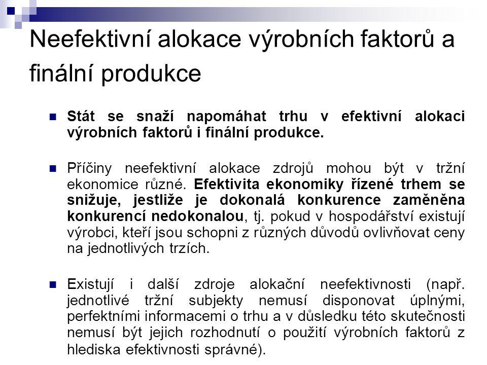 Neefektivní alokace výrobních faktorů a finální produkce  Stát se snaží napomáhat trhu v efektivní alokaci výrobních faktorů i finální produkce.