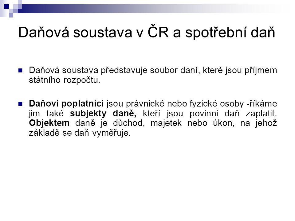Daňová soustava v ČR a spotřební daň  Daňová soustava představuje soubor daní, které jsou příjmem státního rozpočtu.