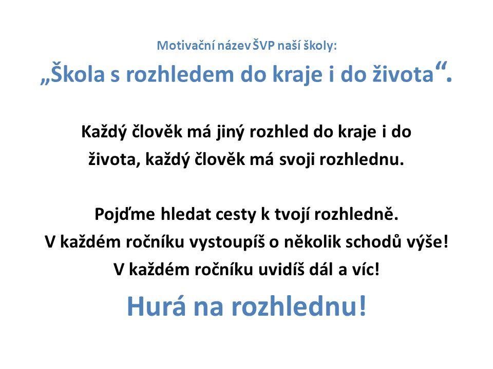 """Motivační název ŠVP naší školy: """"Škola s rozhledem do kraje i do života ."""