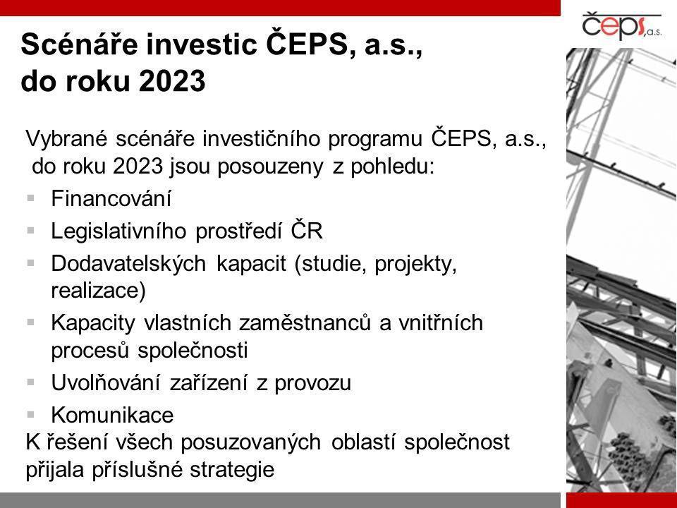 Scénáře investic ČEPS, a.s., do roku 2023 Vybrané scénáře investičního programu ČEPS, a.s., do roku 2023 jsou posouzeny z pohledu:  Financování  Leg
