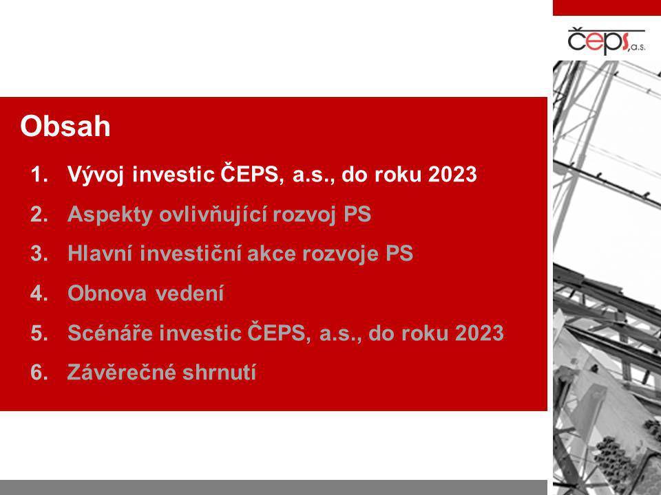 Obsah 1.Vývoj investic ČEPS, a.s., do roku 2023 2.Aspekty ovlivňující rozvoj PS 3.Hlavní investiční akce rozvoje PS 4.Obnova vedení 5.Scénáře investic ČEPS, a.s., do roku 2023 6.Závěrečné shrnutí